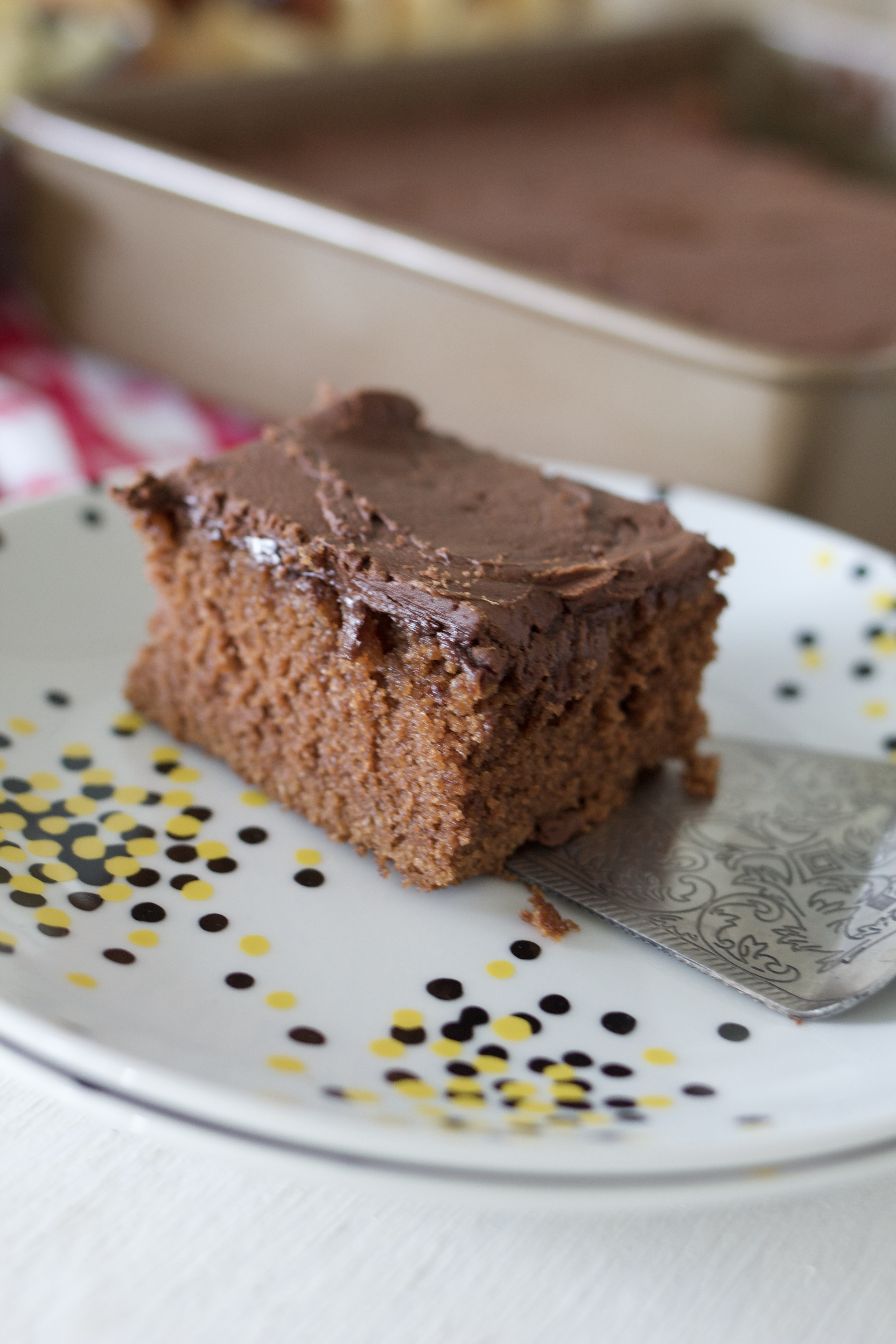 Brownie Picnic Cake with Chocolate Buttercream Frosting