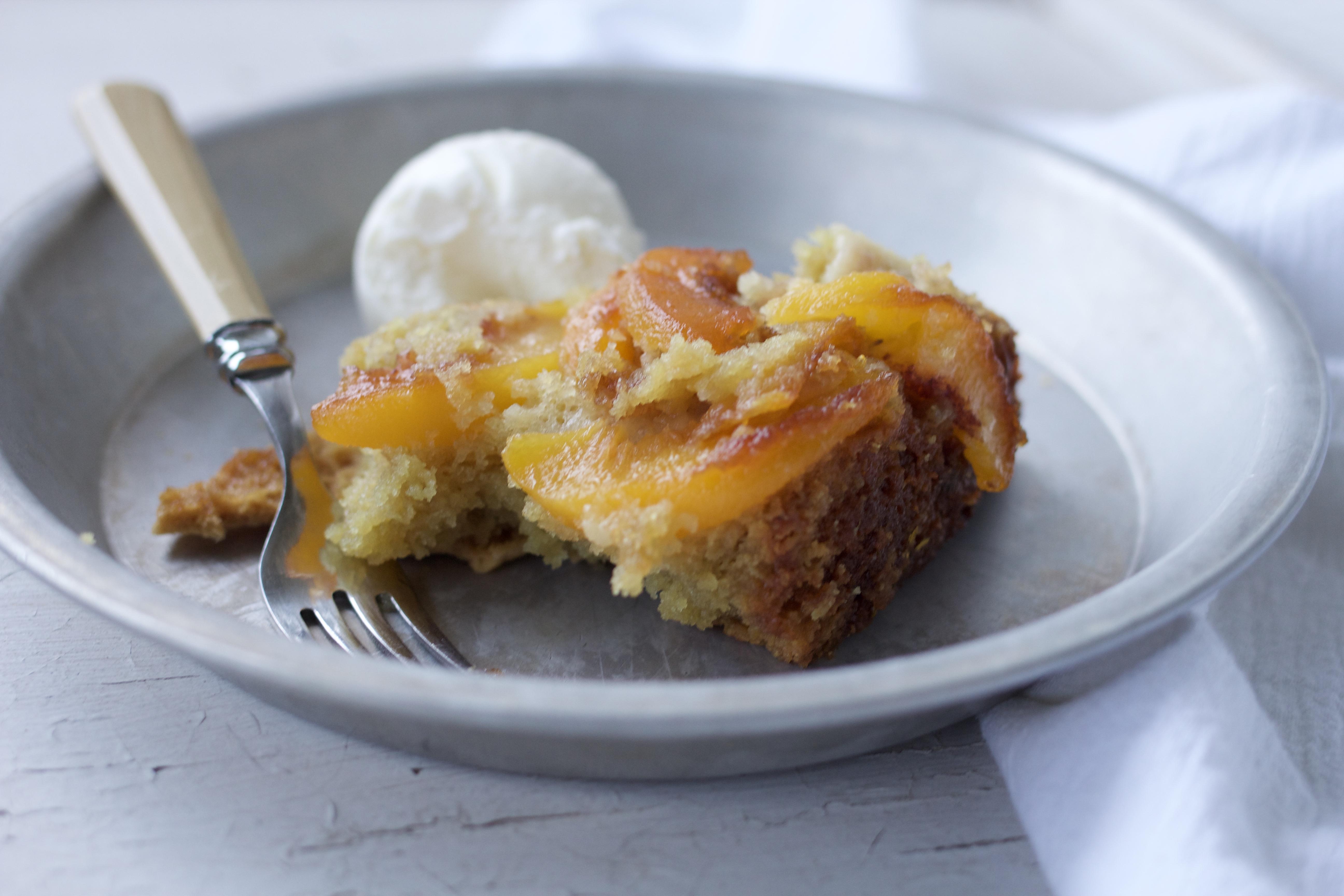 Dutch Oven Upside Down Peach Cake