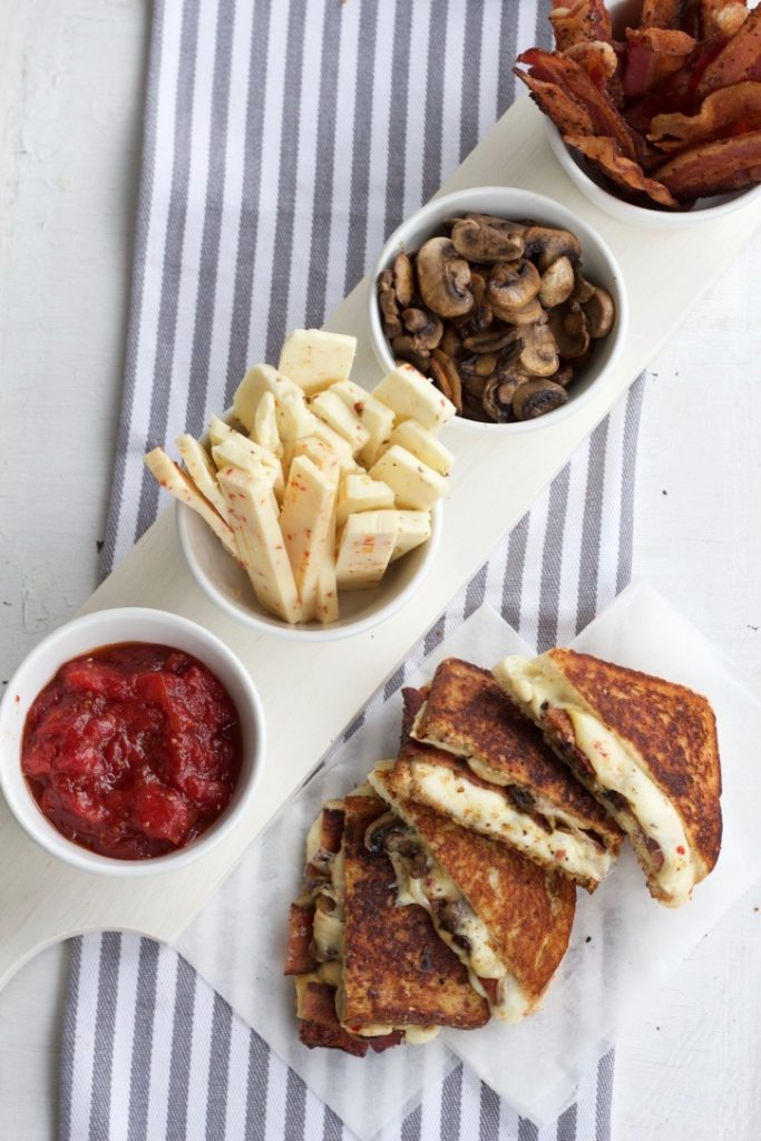 Spicy Asiago, Bacon and Sautéed Mushroom Grilled Cheese with Homemade Tomato Jam