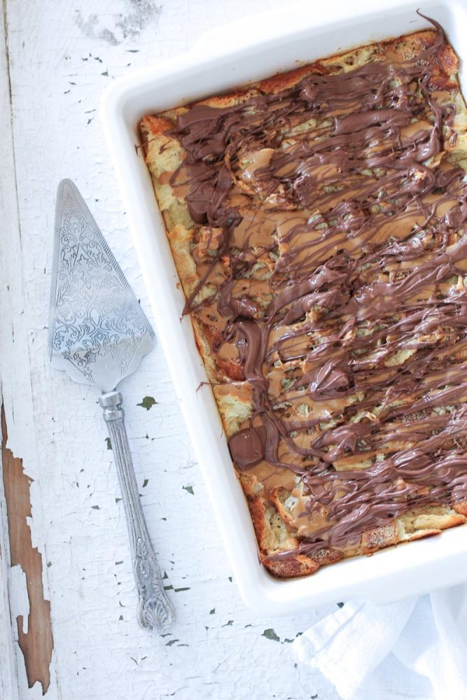 Cookie Butter and Nutella Bread Pudding