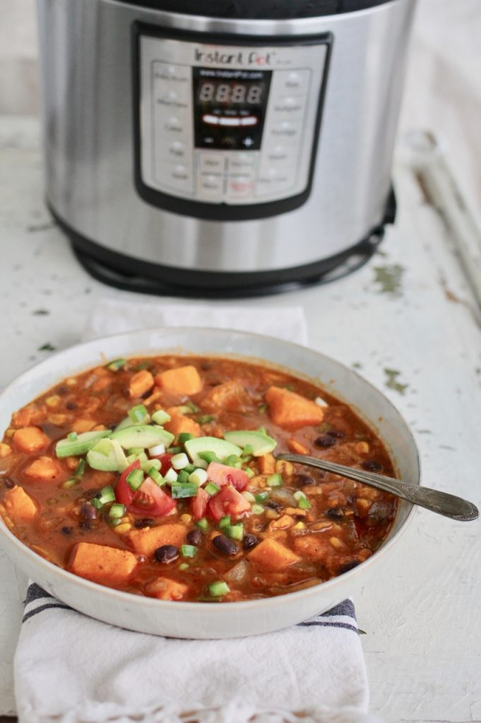 Instant Pot Sweet Potato & Black Bean Chili