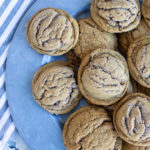 soft gingersnap cookies on blue plate