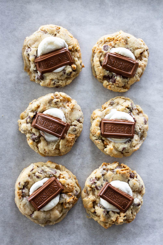 Hershey's on top of S'mores Cookies