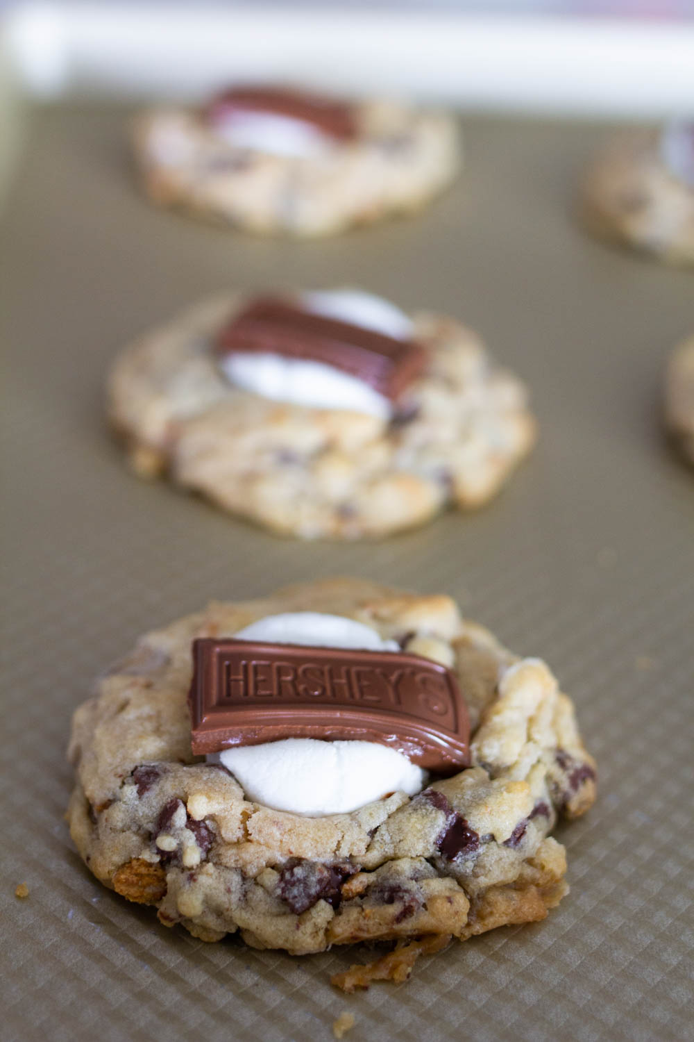 S'mores Cookies baked in oven