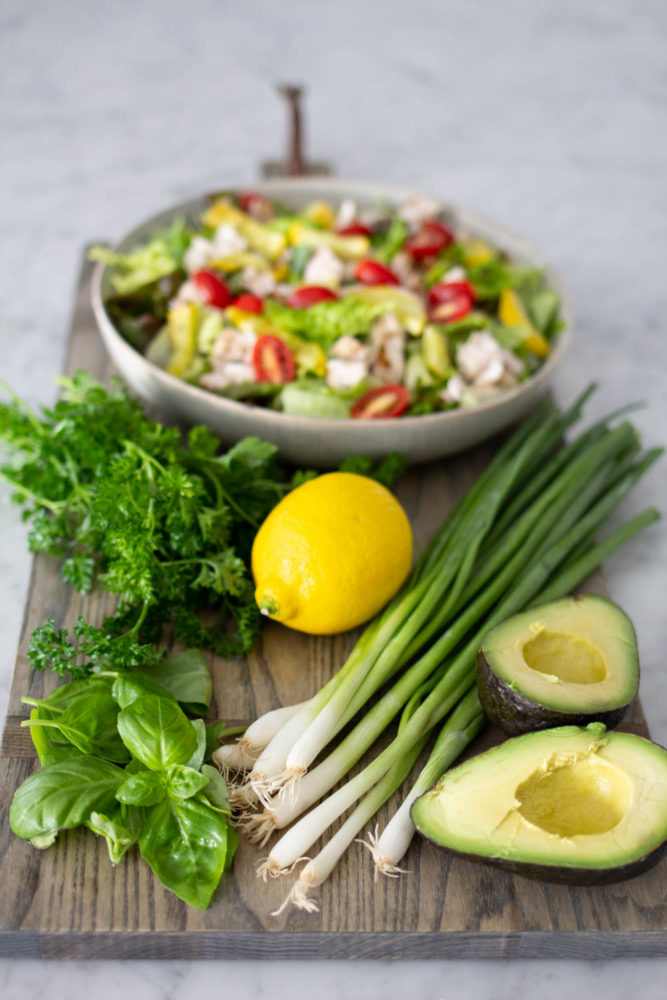 Ingredients for Green Goddess Salad Dressing