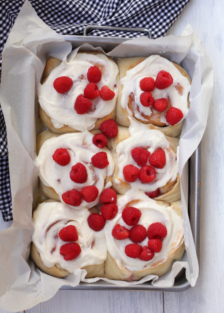 Fresh Raspberry Rolls with Cream Cheese Frosting