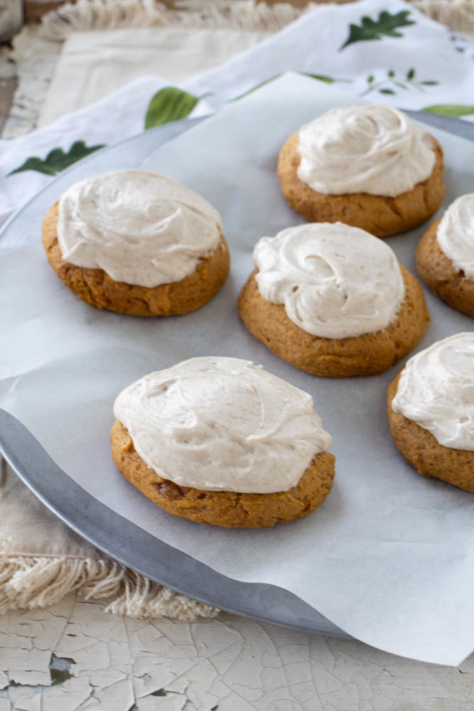 Fall cookies with cream cheese frosting!