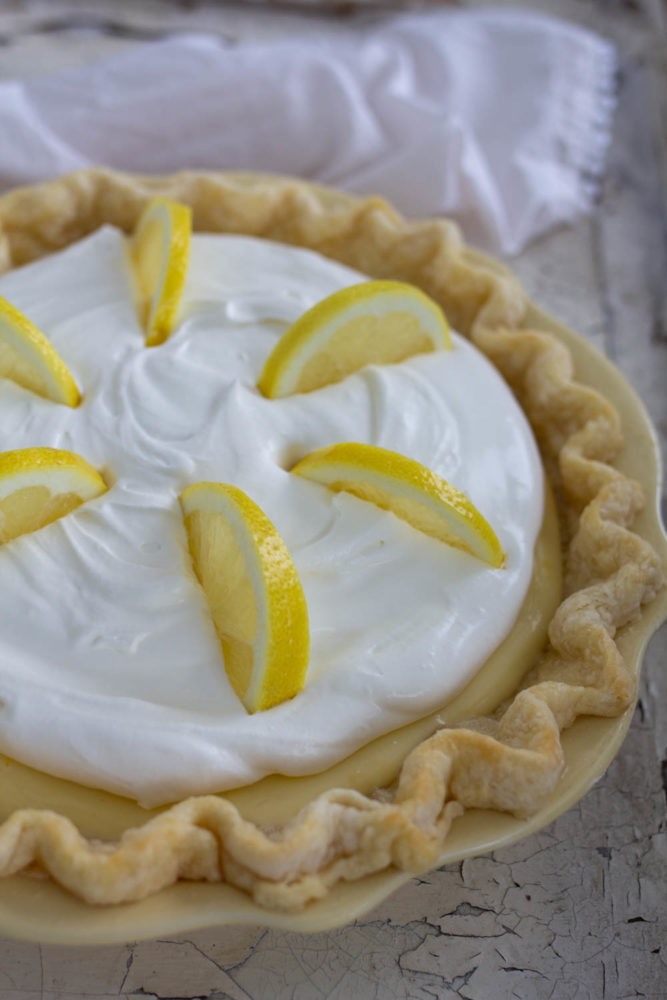 fresh lemon garnish on pie