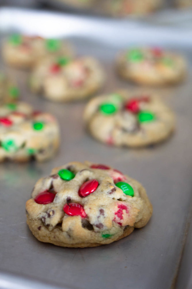 Cookies with M&M's and chocolate chips