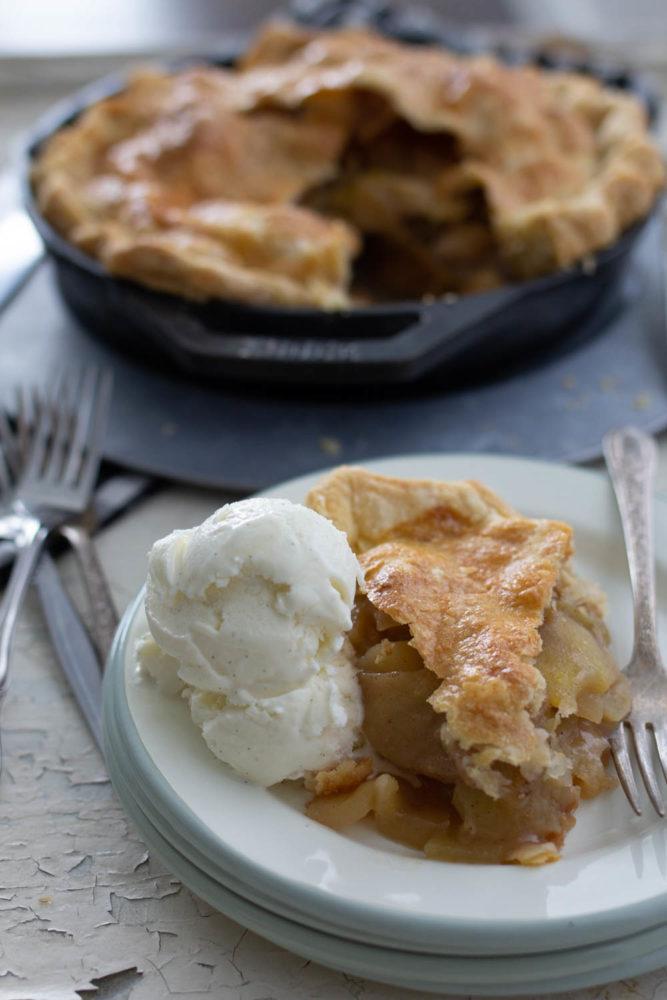 Apple pie baked in pellet smoker