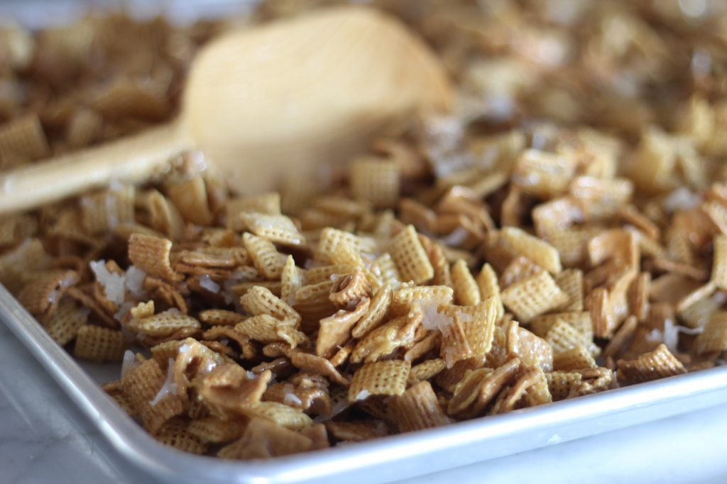 Chex Mix Treat with Coconut and Almonds