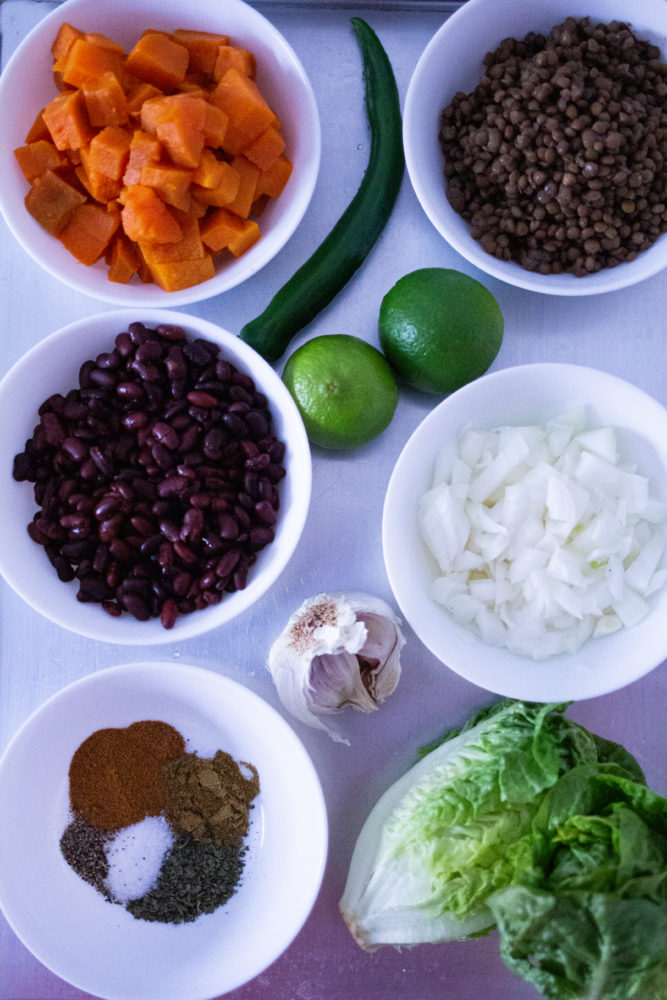 Ingredients for healthy taco bowls