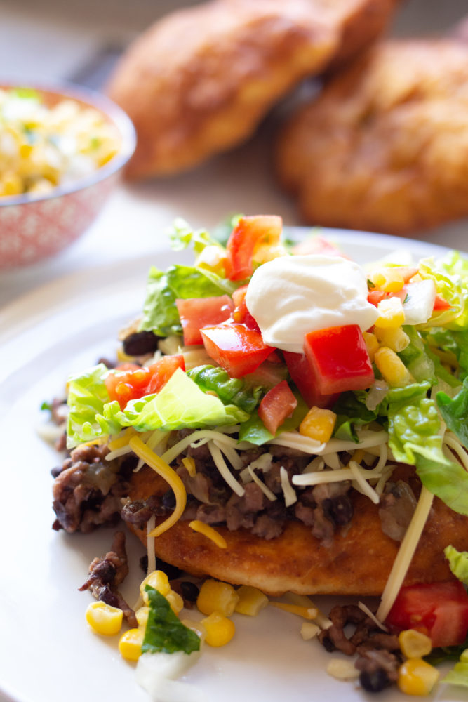 Indian Fry Bread with corn salsa