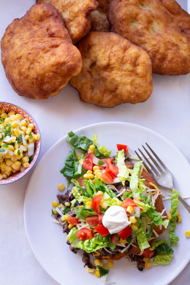 Easy Navajo Tacos with Veggies and Indian Fry Bread