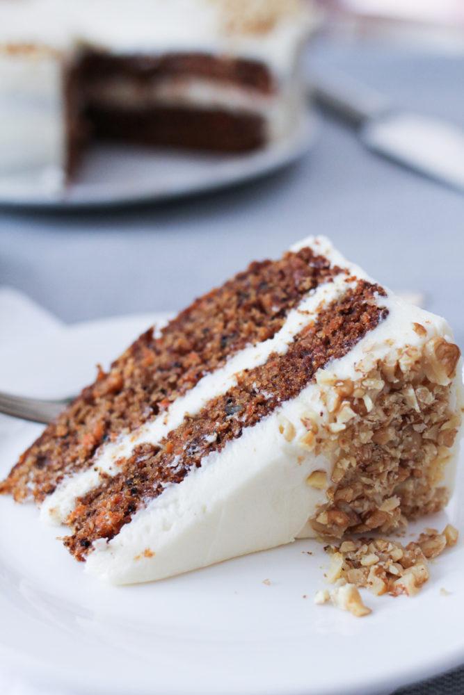 slice of moist carrot cake
