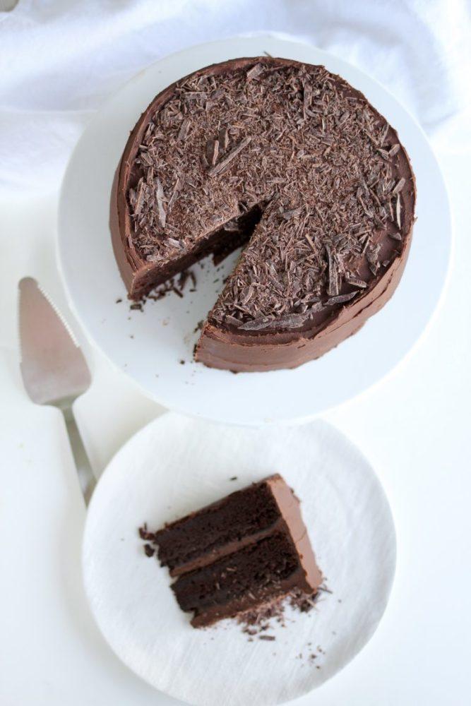 Chocolate Cake with chocolate shaving on top