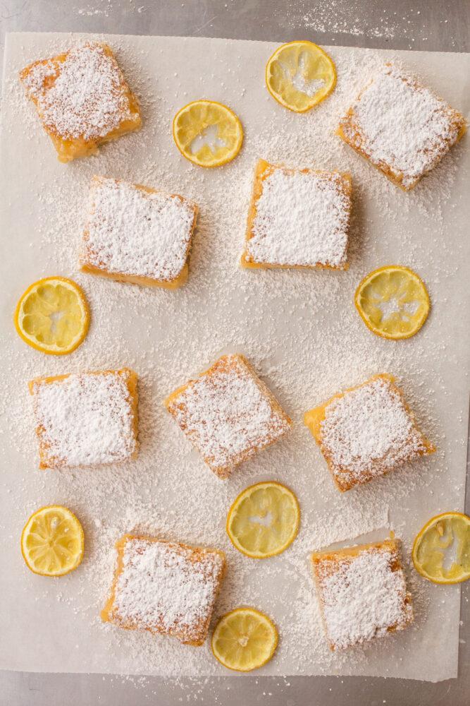 Lemon Bars made with lemon juice
