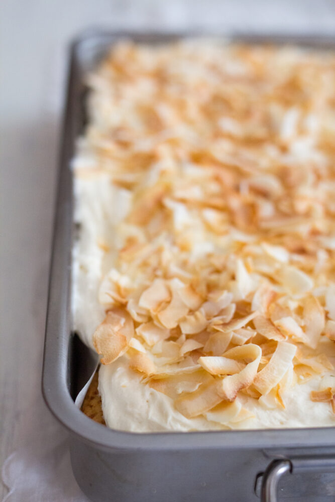 Coconut cake with toasted coconut on top
