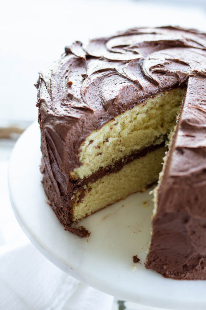 Moist yellow cake with chocolate frosting