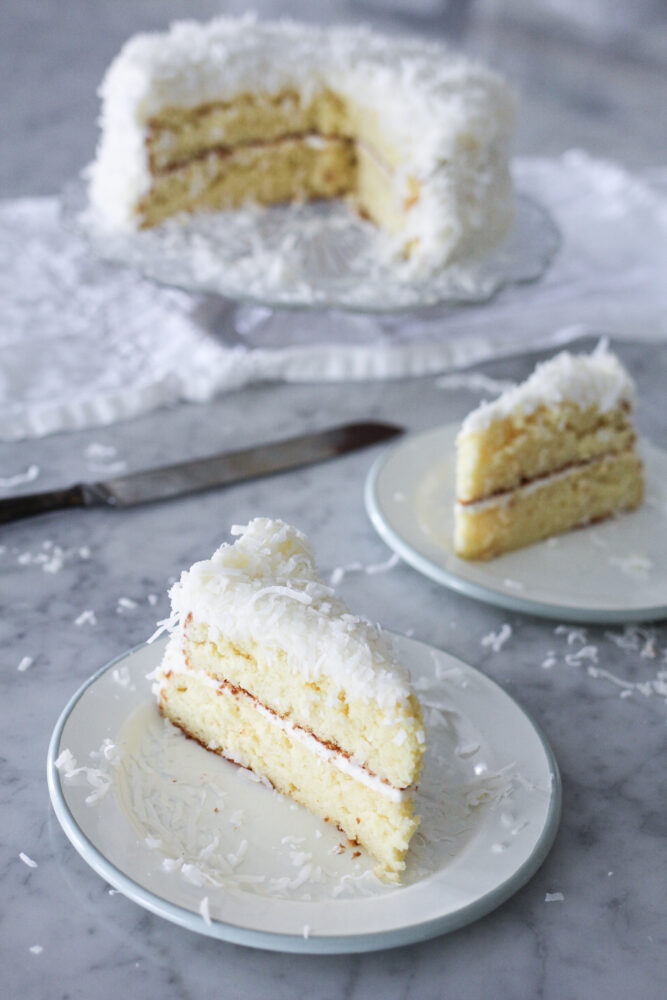 Box Mix Coconut Cake made with coconut milk and sour cream