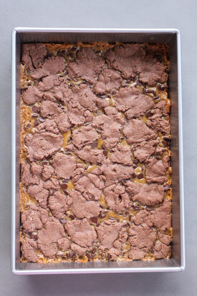 9x13 pan of caramel brownies