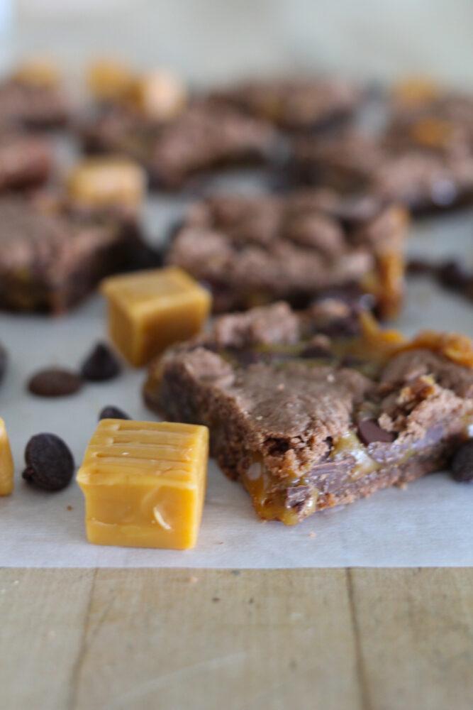 Caramel Brownies made with cake mix