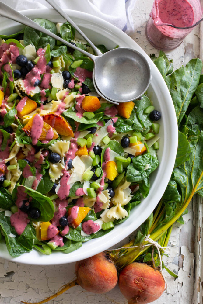 Blueberry and Roasted Beet Pasta Salad
